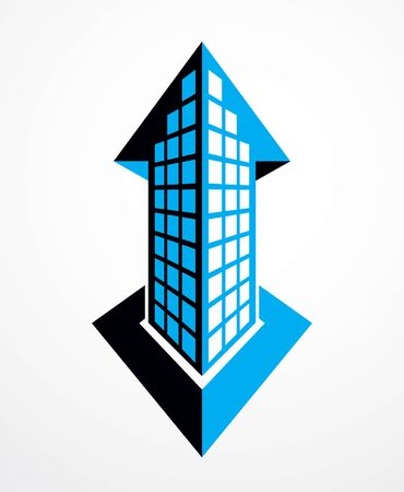 Futuristic building with up arrow, growth and success concept, modern style vector architecture illustration. Real estate realty business center design. 3D business office facade in big city. Imagens - 128364595