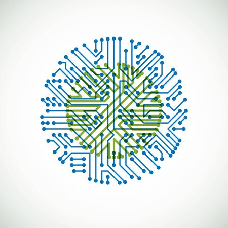 Futuristic cybernetic scheme, vector motherboard green and blue illustration. Circular element with circuit board texture. Imagens - 128364597