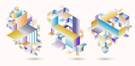 Polygonal low poly vector abstract designs set, artistic retro style backgrounds for ads or prints, covers or posters, banners or cards. Linear 3D triangles and cubes elements. Imagens - 128364637