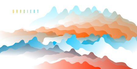 Gradient fluid vector abstract shape, 3D color abstract background in modern trendy style, dynamic design element in motion. Imagens - 128364638