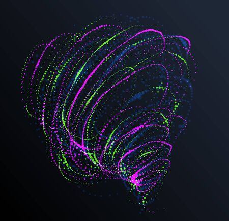 Dotted particle whirl flowing vector abstract background, life forms bio theme microscopic vortex design, dynamic dots elements in spin motion. Ilustração