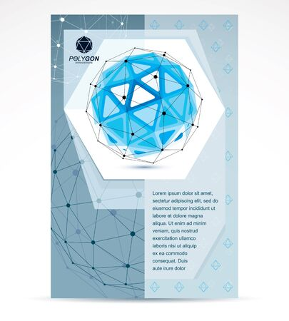 Communication technologies business corporative flyer template. Graphic vector illustration. Tech abstract blue shape, polygonal figure.  イラスト・ベクター素材