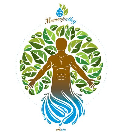 Vector graphic muscular human deriving from water wave and composed with green eco tree, self. Homeopathy creative illustration. Imagens - 128364654