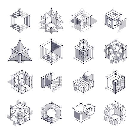 Mechanical scheme, black and white vector engineering drawings set with 3D cubes and geometric elements. Engineering technological wallpaper made with honeycombs.