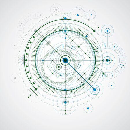 Dibujo vectorial colorido de tecnología geométrica, papel tapiz técnico. Esquema abstracto de motor o mecanismo de ingeniería.