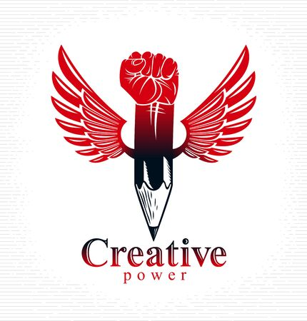 Strong design or art power concept shown as a winged pencil with clenched fist combined into symbol, vector or creative conceptual icon for designer or studio.