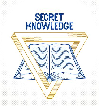 Secret knowledge vintage open book with sacred geometry triangle, insight and enlightenment, education and science, vector or emblem design element.