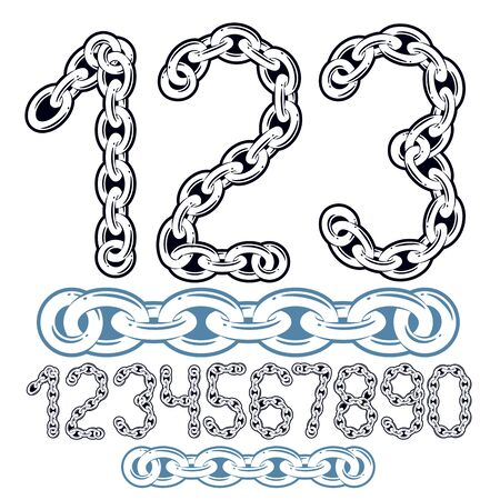 Vector modern numbers collection. Trendy  numbers for use as poster design elements. Made with iron chain, linked connection. Banco de Imagens - 128366056