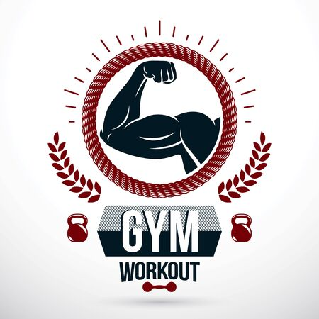 Gym weightlifting and fitness sport club vector emblem made using muscular athletic arm showing biceps. Illustration