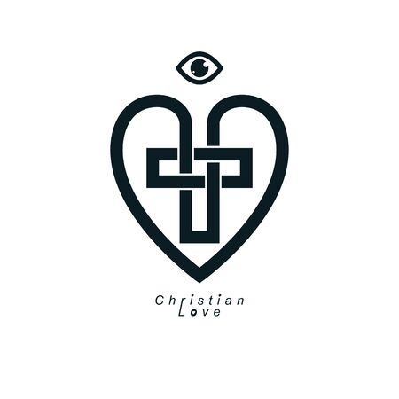 True Christian Love and Belief in God, vector creative symbol design, combined Christian Cross and heart, vector or sign.