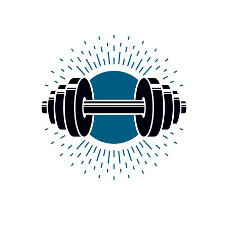 Gym and fitness template, retro style vector emblem. With barbell.