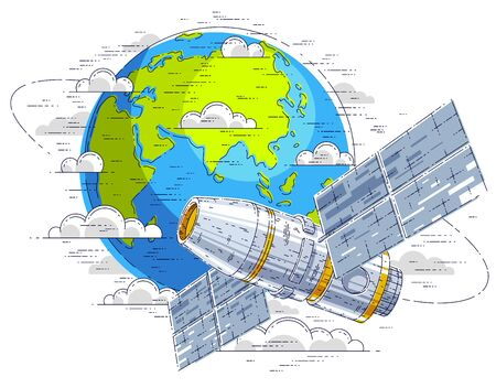 Space station flying orbital spaceflight around earth, spacecraft spaceship with solar panels, artificial satellite. Thin line 3d vector illustration.