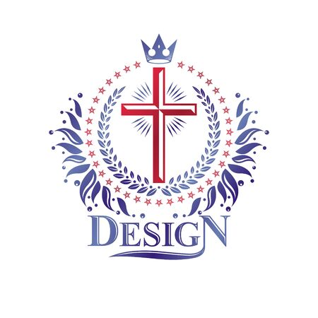 Cross Religious graphic emblem created using imperial crown and floral ornament, Christian crucifixion. Heraldic Coat of Arms, vintage   isolated on white background.