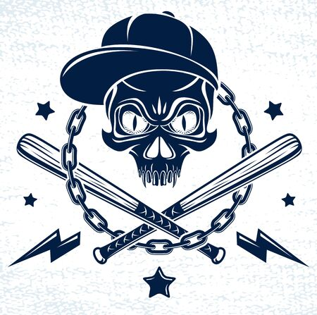 Brutal gangster emblem with aggressive skull baseball bats and other weapons and design elements, vector anarchy crime or terrorism retro style, ghetto revolutionary.