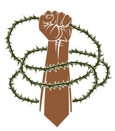 Slavery theme illustration with strong hand clenched fist fighting for freedom against blackthorn thorn, vector tattoo, through the thorns to the stars concept.