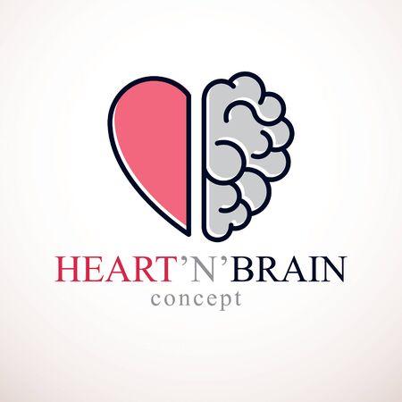 Herz- und Gehirnkonzept, Konflikt zwischen Emotionen und rationalem Denken, Teamwork und Gleichgewicht zwischen Seele und Intelligenz. Vektor- oder Icon-Design.