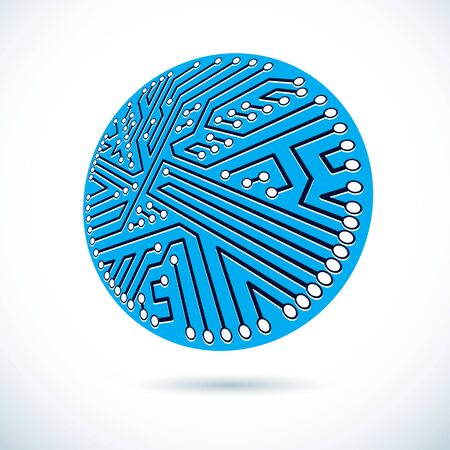 Vector abstract technology illustration with circular circuit board. High tech digital scheme of electronic device.