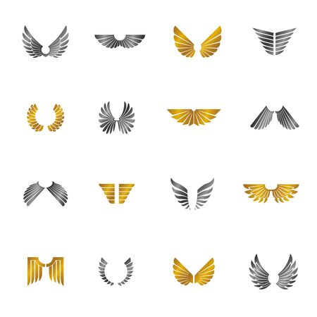 Freedom Wings emblems set. Heraldic Coat of Arms decorative  designs isolated vector illustrations collection. Banque d'images - 129393066