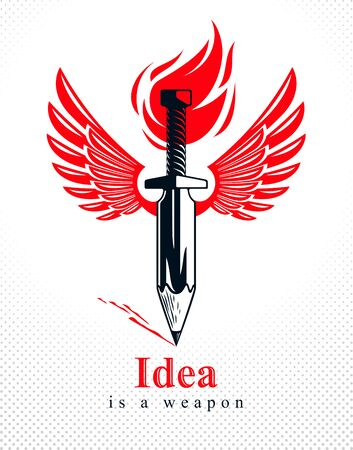 Idea is a weapon concept, weapon of a designer or artist allegory shown as winged sword with pencil instead of blade, creative power, vector  or icon.  イラスト・ベクター素材