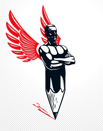 Strongman muscle man combined with pencil and wings into a symbol, strong design concept, creative power allegory, vector perfect classic style or icon. Ilustracja