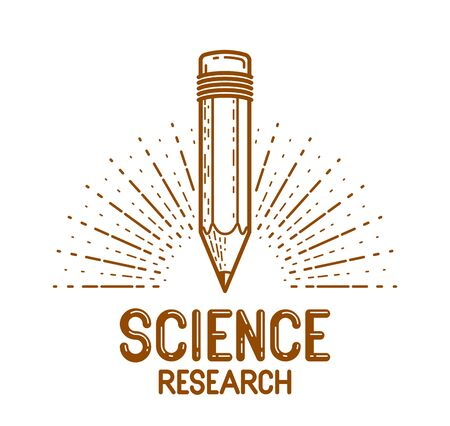 Pencil vector design or icon of education or science knowledge, art and design, theoretical science research vector design or emblem.