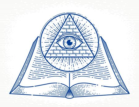 Secret knowledge vintage open book with all seeing eye of god in sacred geometry triangle, insight and enlightenment, masonry or illuminati symbol, vector  or emblem design element.
