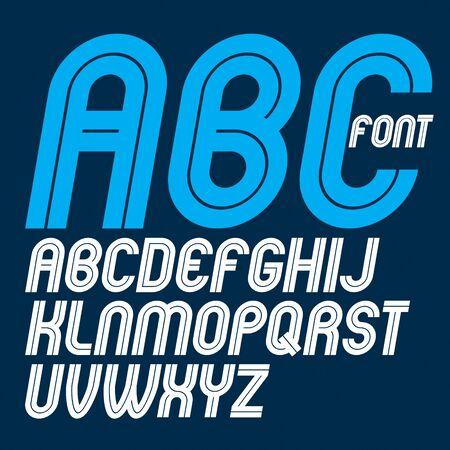 Conjunto de letras del alfabeto mayúsculas en negrita redondeadas vectoriales hechas con líneas blancas, se puede utilizar en la creación de carteles para anuncios sociales o comerciales Ilustración de vector