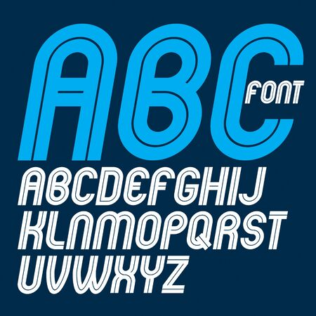 Set of vector rounded bold capital alphabet letters made with white lines, can be used in poster creation for social or commercial announcement Vetores