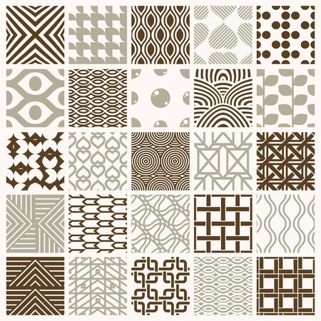 Set of vector endless geometric patterns composed with different figures like rhombuses, squares and circles. 25 graphic tiles with ornamental texture can be used in textile and design. 일러스트