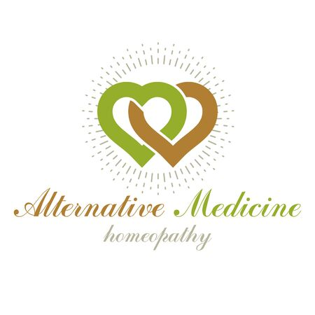 Vector heart shape composed with green leaves. Alternative medicine conceptual symbol can be used as phytotherapy  in healthcare business. Imagens - 129393352