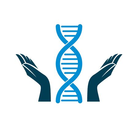 Caring hands hold a model of human DNA. Bioengineering as the direction of genetics, abstract vector scientific symbol best for use in education, science and humanity evolution research. Illustration