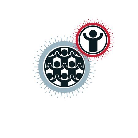 Mankind and Person conceptual design, unique vector symbol created with different icons. System and social Matrix sign. Person and world interacts with each other. System and social Matrix sign.