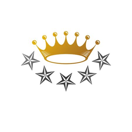 Majestic Crown, Pentagonal Star vector illustration. Heraldic decorative design. Antique design isolated on white background. Ilustrace