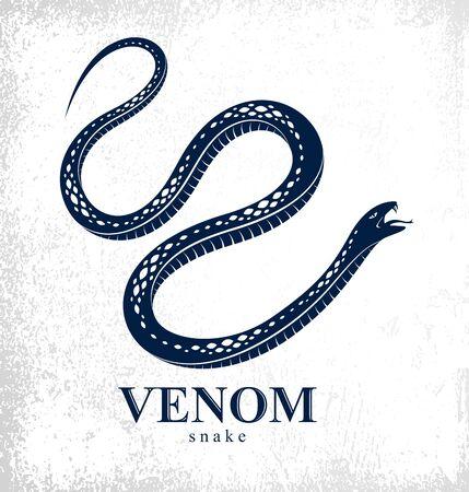 Venomous snake vintage tattoo, vector design or emblem of aggressive predator reptile, deadly poisoned serpent symbol, vintage style illustration. Ilustração