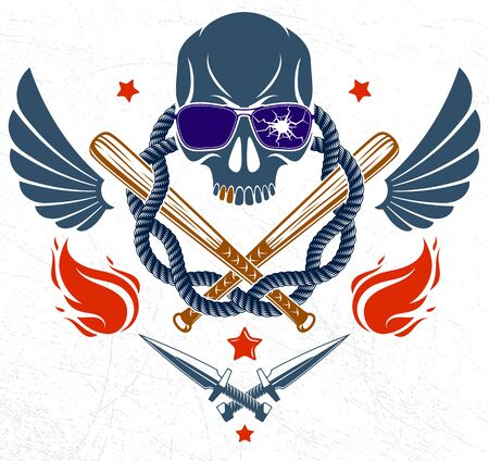 Gangster emblem   or tattoo with aggressive skull baseball bats and other weapons and design elements, vector, criminal ghetto vintage style, gangster anarchy or mafia theme.