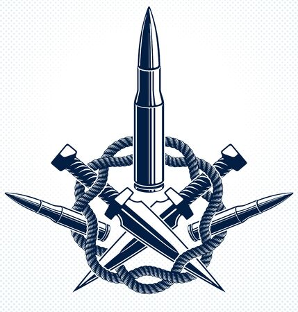 Bullets vector emblem of Revolution and War,  or tattoo, anarchy and chaos concept, criminal and gangster style, social tension theme.