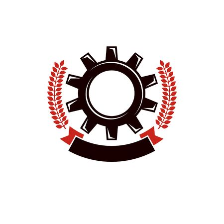 Vector engineering gear illustration. Industry and machinery concept, working class and proletariat theme, socialism idea. 向量圖像