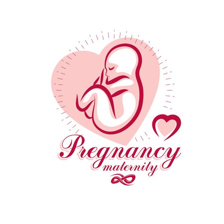 Vector embryo emblem isolated on white. New life beginning drawing. Maternity hospital conceptual design