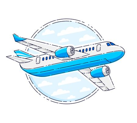 Airlines air travel emblem or illustration with plane airliner and round shape. Beautiful thin line vector isolated over white background.  イラスト・ベクター素材