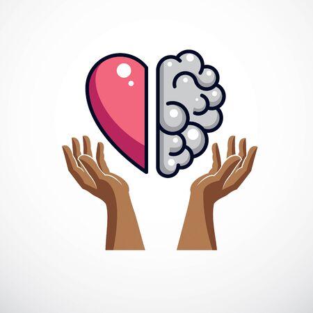 Concepto de corazón y cerebro, conflicto entre emociones y pensamiento racional, trabajo en equipo y equilibrio entre alma e inteligencia. Diseño de vector o icono.