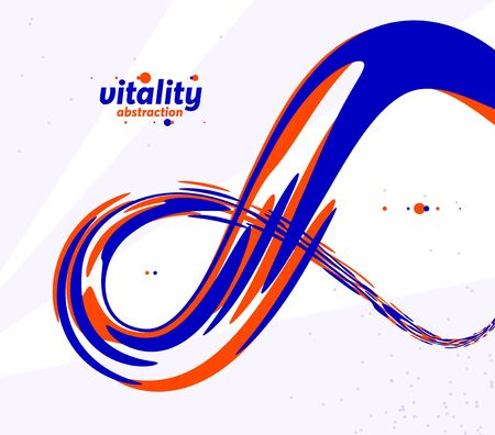 Abstract curve lines and fluid shapes vector background, dynamic energy flow, curvy wavy shapes flowing in 3D perspective template for cover or poster, advertising or print. Stock Illustratie