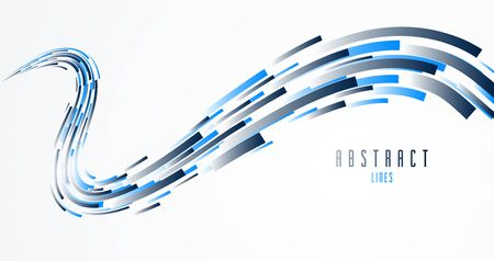 Future technology and science vector abstract background with 3D line elements in perspective, dynamic motion connection theme, template for ads or poster or cover. Stock Illustratie