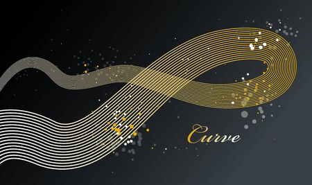 Elegant golden lines vector dimensional abstract background, 3D dynamic gold curve stripes in motion beautiful design element, luxury theme template for ads.