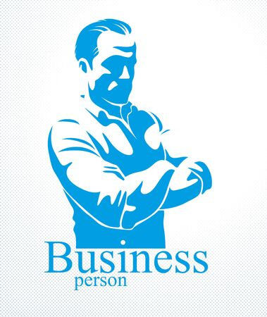 Confident successful businessman handsome man business person vector or illustration realistic drawing style.