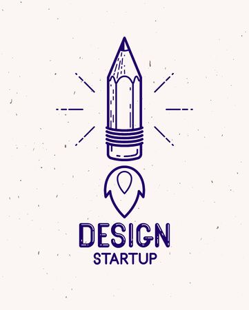 Pencil launching like a rocket start up, creative energy genius artist or designer, vector design and creativity icon, art startup.