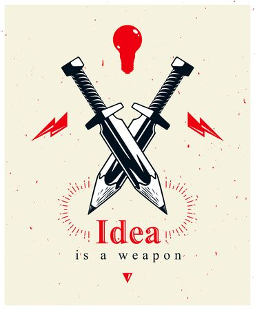 Idea is a weapon concept, weapon of a designer or artist allegory shown as two crossed swords with pencils instead of blades, creative power, vector  or icon.