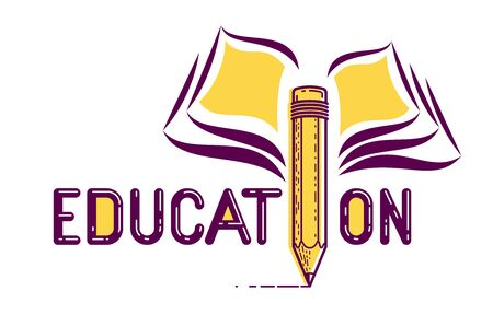 Education word with pencil instead of letter I and book, study and learning concept, vector conceptual creative design or poster made with special font.