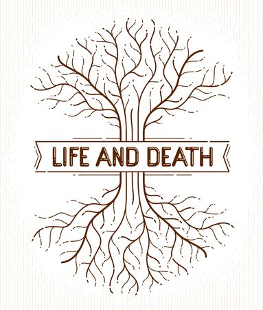 Tree of life, life and death, the cycle of life, vector drawing in linear style, classic symbol.