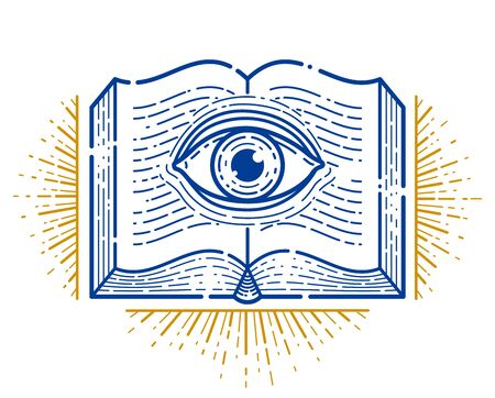 Secret knowledge vintage open book with all seeing eye in text lines, open your mind, insight and enlightenment, education and science or alchemy, vector or emblem design element.