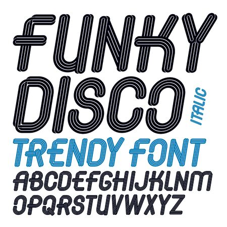 Set of vector italic capital funky alphabet letters isolated can be used for creation in entertainment business